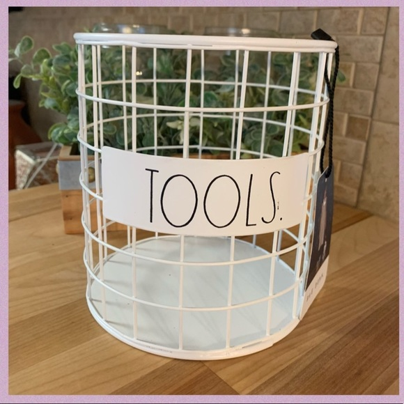 """RAE DUNN """"TOOLS"""" LL WHITE METAL WIRE HOLDER"""